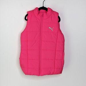 Puma Girls Neon Pink Zip Up Puffer Vest 7/8 - EUC